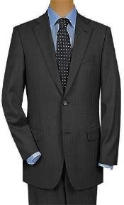 ID#UB9221 Two Button Dark Charcoal Masculine color Gray Wedding / Prom Multi Mini Pinstripe Suit