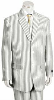 ID#KA5583 Two buttons Jacket Pleated creased Pants Pronounce Pinstripe Summer Seersucker Sear sucker suit Pattern Suits for Men