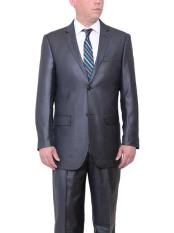 ID#NM595 Men's Big & Tall 2 Button Classic Fit Side Vents Sharkskin Dark Charcoal Gray Suit