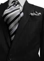 ID#DB22631 2 Button Hidden Pinstripe Wool 37633 Charcoal designer suits for men Notch Lapel Sui