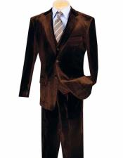 ID#NM1229 Men's 3 ~ Three Piece Two Button Coffee Notch Lapel  Velvet Vested Suits