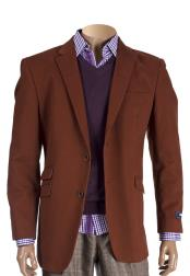 Button Cognac Cotton Notch