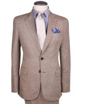 ID#DB24662 2 Button Dark Tan Wedding / Prom Linen For Beach Wedding outfit  ~ Taupe ~ Khaki Regular Fit Suit