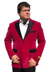 2 Button Satin Big and Tall Large Man ~ Plus Size Velvet Fuchsia Blazer