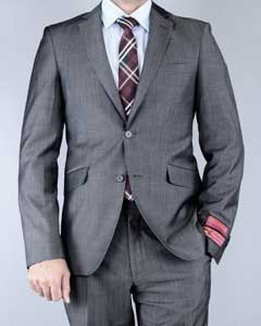 Classic Fit Sharkskin Grey