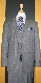 ID#RT355 Two Button 3 - Three Piece Grey Pinstripe Flat Front Dark color black Single Buttons Peak Collared Wool fabric Cheap Priced Fitted Tapered cut suit