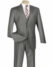 ID#NM14567 2 Button Vested Notch Lapel 3 ~ Three Piece  Pleated Slacks Suit