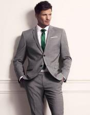 Cheap Clearance Sale Extra Slim Fit Suit Prom Grey Suit Green Tie 2 Button