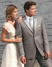 ID#6F54 Stunning Grey ~ Gray / Prom Two Button Fashion Grey Tuxedo For Men Delivery 30 business And Perfect For Wedding