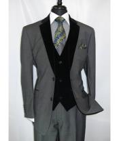 Two Button Black Suit Gray Vest Velour Vested Velvet 3 Piece Suits