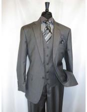 ID#VJ16254 Vinci 2 Button  3 ~ Three Piece Notch Lapel Vested Medium Grey Shadow Stripe Style Suit