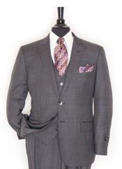 ID#DB18958 Tiglio 2 Button Single Breasted 150's Wool Peak Lapel Grey Vested Suit