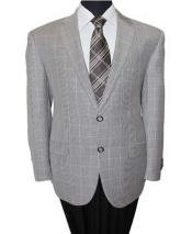 ID#NM30 Affordable Sport Coats Sale 2 Button Grey Wool Notch Lapel Windowpane  Sport Coat Best Cheap Blazer For Affordable Cheap Priced Unique Fancy For Men Available Big Sizes on sale Men
