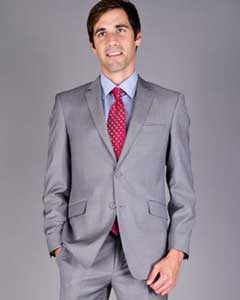 ID#SXPU7 Mantoni Slim Fit Light Grey Sharkskin 2-Button Wool fabric Suit