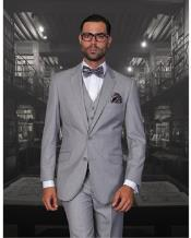 ID#NM14185 Men's 2 Button Solid Grey Statement Wool 3 Piece Modern Fit Suit