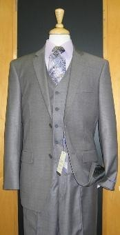 ID#ET533 Two Button 3 ~ Three Piece Grey Sharkskin Wool fabric Blend Flat Front Cheap Priced Fitted Tapered cut suit