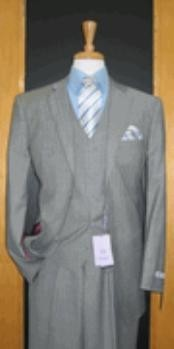 ID#TT444 Two Button Grey Pinstripe Wool fabric and Cashmere Flat Front 3 - Three Piece Cheap Priced Fitted Tapered cut suit