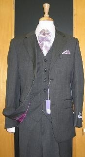 ID#DF331 Two Button Three Piece Dark Grey Wool fabric and Cashmere Flat Front three piece Cheap Priced Fitted Tapered cut suit