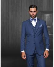 ID#NM14186 Men's 2 Button Wool Modern Fit Bright Blue Indigo Statement Suit