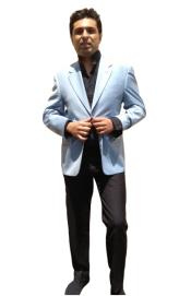 ID#5U3D Two Button Sportcoat Jacket Light Blue Perfect for wedding  ~ Sky~Baby~Powder Blue Best Cheap Blazer Suit Jacket  Affordable Cheap Priced Unique Fancy For Men Available Big Sizes on sale Men Affordable Sport Coats Sale