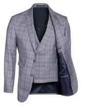 Button Windowpane~Plaid Double Breasted