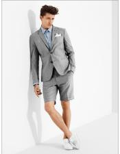 ID#DB24508 Light Grey 2 Button Suit For Men With Shorts Pants Set