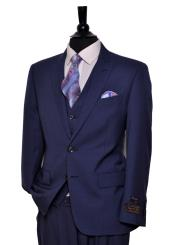 ID#DB18959 Discounted Online Sale 2 Button Medium Blue 150's Wool Vested 3 ~ Three Piece Suit