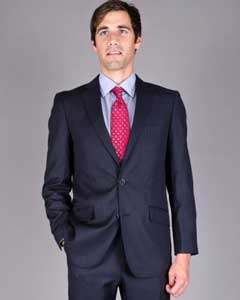 ID#T98F Slim Fit navy blue colored Stripe ~ Pinstripe 2-Button Suit