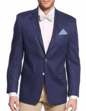 ID#NM191 Men's Notch Lapel Solid 2 Button  Linen Jacket Sportcoat Navy Best Cheap Blazer For Affordable Cheap Priced Unique Fancy For Men Available Big Sizes on sale Men Affordable Sport Coats Sale