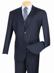 ID#TM14581 Navy 2 Button Vest and Classic Pinstripe Suit