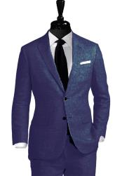 ID#KO17771  Two Button Navy Alberto Nardoni Linen For Beach Wedding outfit Notch Lapel Suit