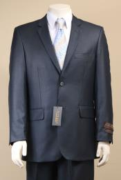 ID#AC-684 Two Button Suit New Edition Shiny Sharkskin Navy Blue Wedding / Prom