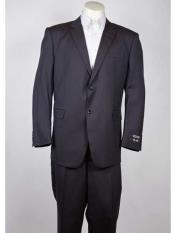 Two Button Navy Classic Fit Notch Collared Lightweight Material Summer Polyester Suit - Dark Blue Suit Color
