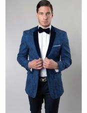 ID#VJ15302 2 Button  Solid Velvet Floral ~ Flower Pattern Notch Lapel Slim Fit Navy Suit Best Inexpensive ~ Cheap ~ Discounted Blazer For Affordable Cheap Priced Unique Fancy For Men Available Big Sizes on sale Men Affordable Sport Coats Sale
