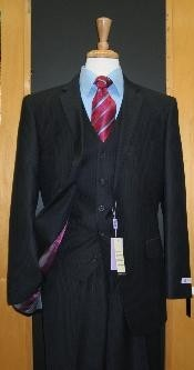 ID#SE333 Two Button 3 ~ Three Piece Navy Tone on Tone Wool fabric Blend Flat Front suit