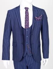 Lapel Suit Blue Pinstripe