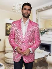 ID#DB18061 2 Button Big and Tall Large Man ~ Plus Size Blazer For Affordable Cheap Priced Unique Fancy For Men Available Big Sizes on sale Men Affordable Sport Coats Sale Jacket Patterned Looking! Paisley Floral ~ Flower Pattern Pink Tuxedo