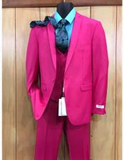 Two Button Pink Vested Suit