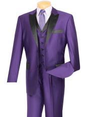 Sharkskin Two Button Purple