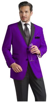 ID#PRP81 Purple pastel color Two Button Notch Party Suit & Prom ~ Wedding Groomsmen Sportcoat w/ Dark color black Collared Suede Mens Velvet Tuxedo Jacket