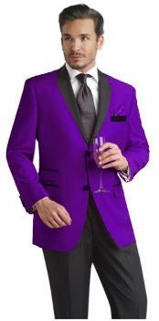 Purple pastel color Two Button Notch Party Suit & Prom ~ Wedding Groomsmen Sportcoat w/ Dark color black Collared Suede mens Tuxedo - Velvet Blazer - Mens Velvet Jacket