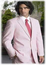 ID#LZ3211 Two Button Vented red pastel color Summer Seersucker suit Pattern (Jacket + Pants) Delivery 30 business