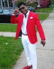 Christmas Red Prom Outfit Best Inexpensive ~ Cheap ~ Discounted Blazer Suit Jacket For Affordable Big Sizes Affordable Sport Coats Sale Include White Shirt & White Pants