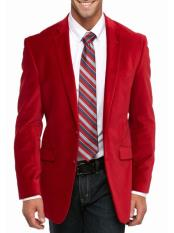 ID#DB23140 Christmas Red 2 Button  Notch Big and Tall Large Man ~ Plus Size Lapel Velvet Blazer Suit Jacket
