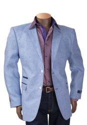 Blue Linen 2 Button