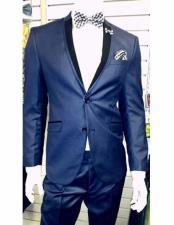 ID#VJ14752 Shiny 2 Button Light Navy ~ Dark Royal Blue Two Toned Prom ~ Wedding Groomsmen Cheap Homecoming Tuxedo​ Black Lapel Inexpensive ~ Cheap ~ Discounted Clearance Sale Extra Slim Fit Prom Suit