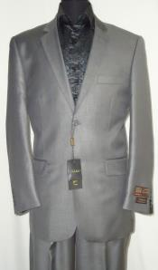 ID#AC-685 Two Button Suit New Edition Shiny Sharkskin Silver Gray Wedding / Prom