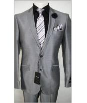 2 Button Silver Sharkskin