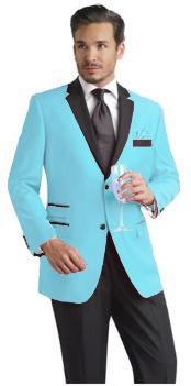 ID#SBL792 Light Blue ~ baby blue Two Button Notch Party Suit & Prom ~ Wedding Groomsmen Tuxedo & Sportcoat Jacket w/ Dark color black Collared Delivery 30 business