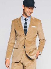 ID#NM713 Mens 2 Button Corduroy Suit ( Blazer Sportcoat + Slacks) Velvet Tan Wedding / Prom Suit